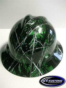 New Custom Msa V Gard Full Brim Hard Hat Green Harvest Moon Camo Pattern