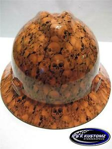 New Custom Msa V Gard Full Brim Hard Hat Orange Skull Pattern