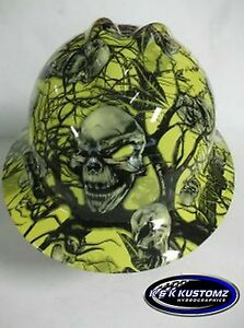 New Custom Msa V Gard Full Brim Hard Hat Yellow Mr Creepy Skull Pattern