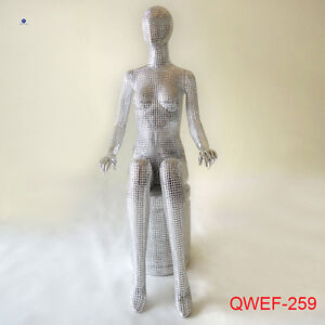 New Style Sitting Silver Fiberglass Female Mannequin With Head For Women Clothes