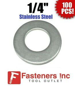 100 1 4 Stainless Steel Flat Washers 18 8 Stainless 5 8 Od 037 Thick