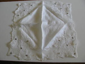 Antique Vtg Bridal Embroidered Lace Rhinestones Ladies Hankerchief Hanky Hankie