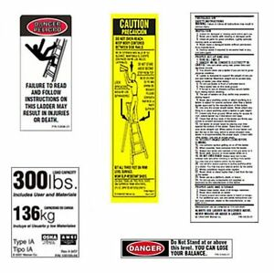 10 Pack 300lb Fiberglass Step Ladder Safety Labels Kit Werner