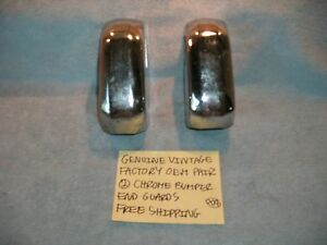 Genuine Vintage Factory Oem Pair 2 Chrome Bumper End Guards Free Shipping