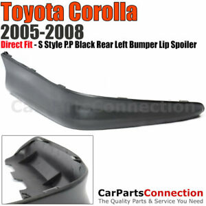 Body Kit Lip Spoiler Left Rear S Style Polypropylene 05 08 Toyota Corolla