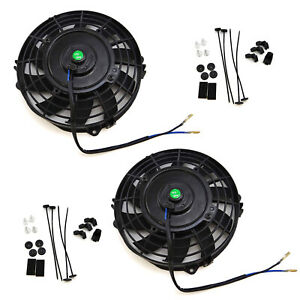 2x 7 Inch Universal Slim Fan Push Pull Electric Radiator Cooling 12v Mount Kit