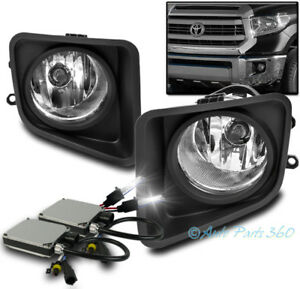14 17 Toyota Tundra Truck Bumper Driving Chrome Fog Light Lamp W 6000k Hid Bezel