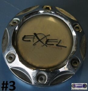 Exel Center Cap Used Chrome Plastic Center Black Word Exel 2 1 4 Dia