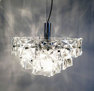 60s Kinkeldey Space Age Chrome Crystal Glass Pendant Lamp Chandelier Annees 60