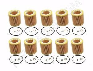Set Of 10 Engine Oil Filters Kit With O Ring Op Parts For Bmw E86 E88 E90 E92