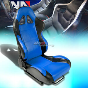 Universal Fully Reclinable Pvc Leather Lightweight Racing Seats Black blue Right