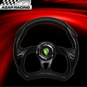 Universal 320mm Racing Steering Wheel Black 6 Hole Bolt Aluminum Pvc Leather