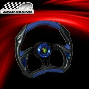 Universal 320mm Battle Steering Wheel Blue Pvc Leather W Carbon Fiber Bd Logo
