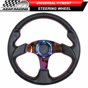Universal 320mm Steering Wheel Carbon Finish W Red Stitching And Neochrome