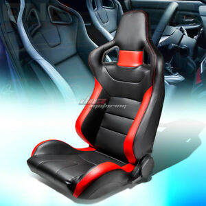 Full Reclinable Black red Stripe Pvc Leather Bucket Racing Seat slider Left