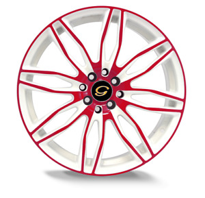 17 Inch G Line 1017 Red Face White Wheel Rims Tires 5 X 114 3