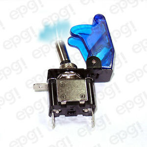 On off Spst 3p Blue Illuminated Toggle Switch W trans Blue Cover 662051 665019