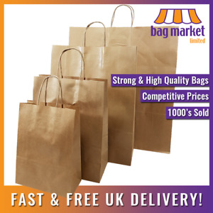 Strong Brown Twisted Handle Paper Bags Kraft carrier twist gift fashion party