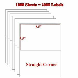 2000 Half Sheet Shipping Labels 8 5 x5 5 Blank Self Adhesive For Paypal Usps