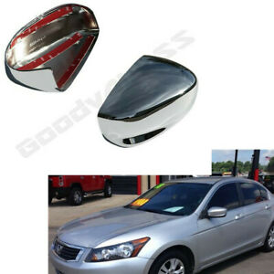 For 08 12 Honda Accord Chrome Plated Door Rear View Mirror Covers Pair Trim Cap