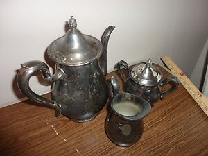 Reed Barton Jamestown Silver Plate Teapot 1800 Creamer 1803 Sugar Pot 1802 Set