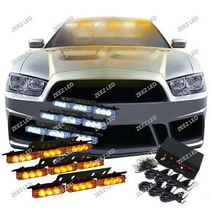 54 Amber White Led Car Truck Emergency Flashing Warning Flash Strobe Light C08