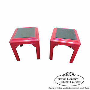 Hollywood Regency Chinese Chippendale Lacquered Mirrored Top End Tables