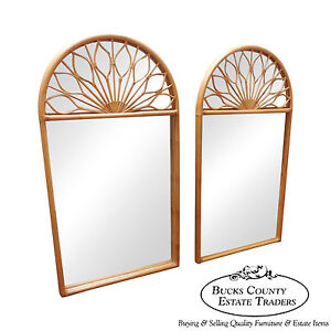 Mcguire Large Pair Of Dome Top Bamboo Rattan Mirrors