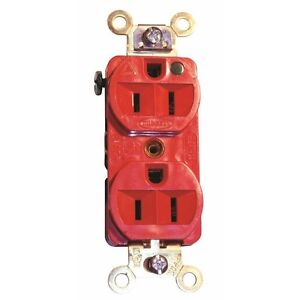 Hubbell Hbl2182r Hospital Grade Style Line 20 Amp Duplex Receptacle Red