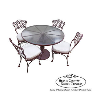 Woodard Vintage Quality Ornate Iron Round Patio Table 4 Chair Dining Set