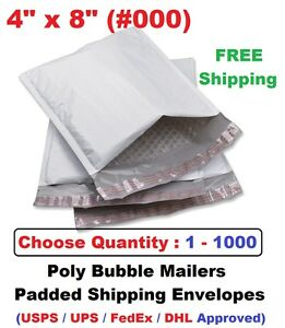 000 4x8 Poly Bubble Mailers Padded Shipping Envelopes Self Sealing Bags 1 1000