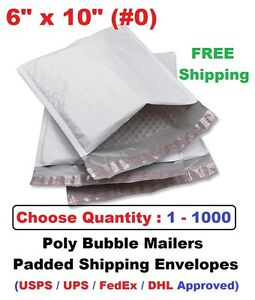 0 6x10 Poly Bubble Mailers Padded Shipping Envelopes Self Sealing Bags 1 1000