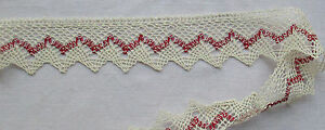 Vintage White Cotton Lace W Turkish Red Accent Scalloped French