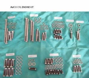 Small Block Chevy Stainless Steel Hex Head Bolt Engine Kit 265 400 Unpolished