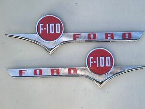 1956 56 Ford Truck Hood Chrome F100 Emblem Pair New