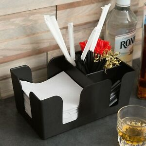 Black Counter Top Bar napkin Caddie 6 compartment For Sip Straws Napkins