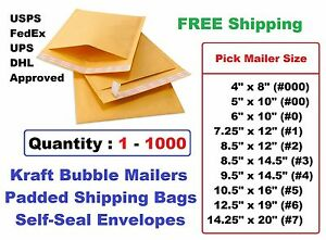 000 00 0 1 2 3 4 5 6 7 Kraft Bubble Mailers Padded Shipping Envelopes 1 25 100