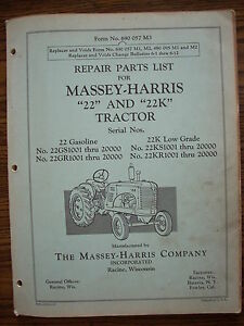 Massey Harris 22 22k Parts Manual