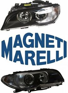 For Bmw E46 Set Of 2 Headlight Assembly W White Turn Indicators Magneti Marelli