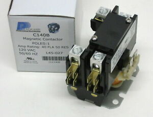 C140b Contactor Single One 1 Pole 40 Amps 120 Volts A c Air Conditioner New