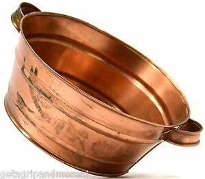 Antique Copper A Milk Pan Double Handled 8 Pot Signed Mrz 90 Nice Patina