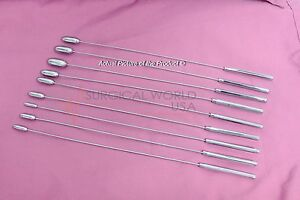 Set Of 9 Bakes Rosebud Dilators Urethral Sounds Gynecology Surgical Instrument