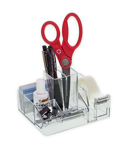 6 Deluxe Clear Office Organizer With Tape Dispenser Desk Top Free Shipping