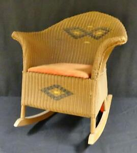 Amazing Vintage Victorian Wicker Rattan Miniature Rocking Dolls Chair