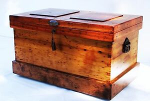 1850 Antique Carpenter Chest Trunk Pirate Treasure Chest Coffee Table
