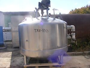 500 Gallon Mueller Jacketed Mixing Tank Cone Bottom With Sweep Type Agitation
