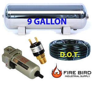 9 Gallon Stainless Air Tank 5pt Filter Trainhorn Air Suspension Airhose P sw Xzx