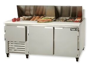 Leader 72 Commercial Bain Marie Sandwich Prep Table Cooler self contained