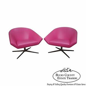 Quality Pair Of Chrome Base Mid Century Swivel Lounge Chairs