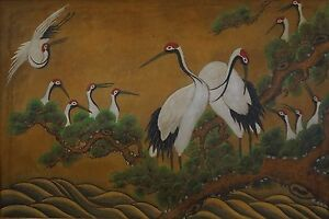 Beautiful Large Old Korean Folk Minhwa Hand Painting Of Longevity Cranes